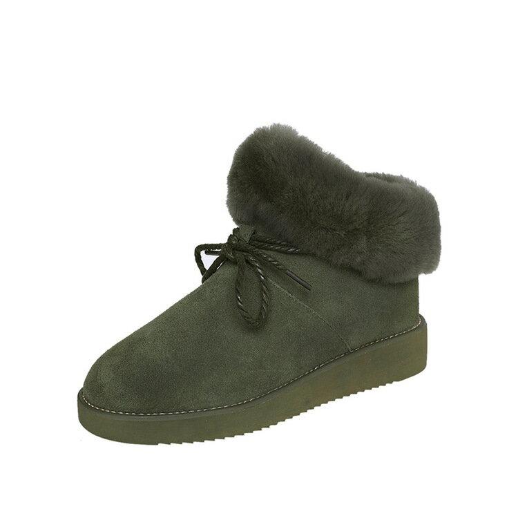 秋冬毛毛保暖雪靴平底麂皮絨短筒女靴蝴蝶結裝飾套筒好穿脫棉靴外翻迷彩軍綠黑