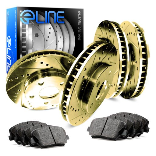 [COMPLETE KIT] Gold Drilled Slotted Brake Rotors & Semi-Met Pads CGC.4703302 285a9e2d451744ce6f2d6779e15ec0cd