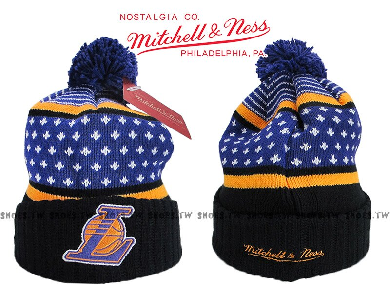 Shoestw【5056036179581】Mitchell & Ness 毛帽 NBA毛帽 湖人隊 內刷毛 黑紫黃