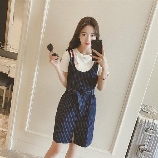FINDSENSEG5韓國時尚T袖+條紋背帶連衣裙套裝