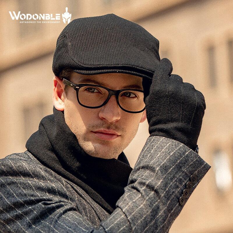 免運  男士純色前進帽文藝復古八角帽保暖毛呢帽子
