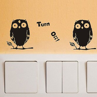 BO雜貨【SV4211】DIY時尚創意家居可愛動物 開關貼 牆貼 壁貼 背景貼 筆電貼 冰箱貼 貓頭鷹