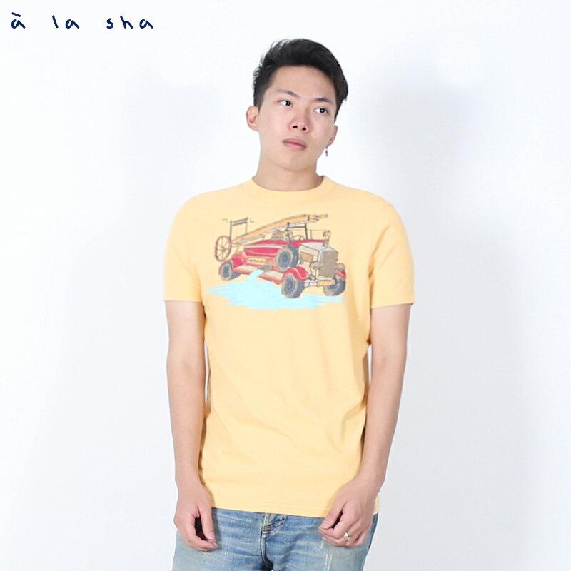 a la sha enco 老爺車圖圓領短T(男)