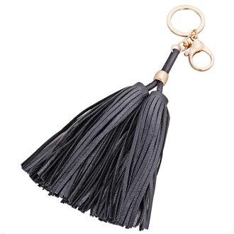 掛飾鑰匙扣手工皮革流蘇黑色-JC Collection
