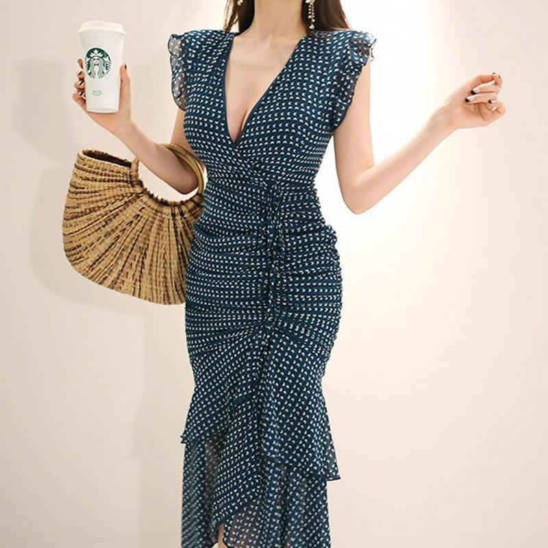 跨境女裝2021新款韓版名媛氣質V領修身抽褶包臀印花魚尾連衣裙女