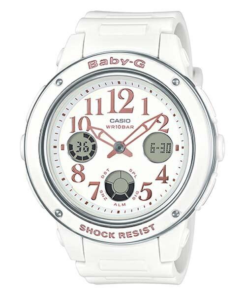 CASIO BABY-G BGA-150EF-7B白麗雙顯流行腕錶/白面42.8mm