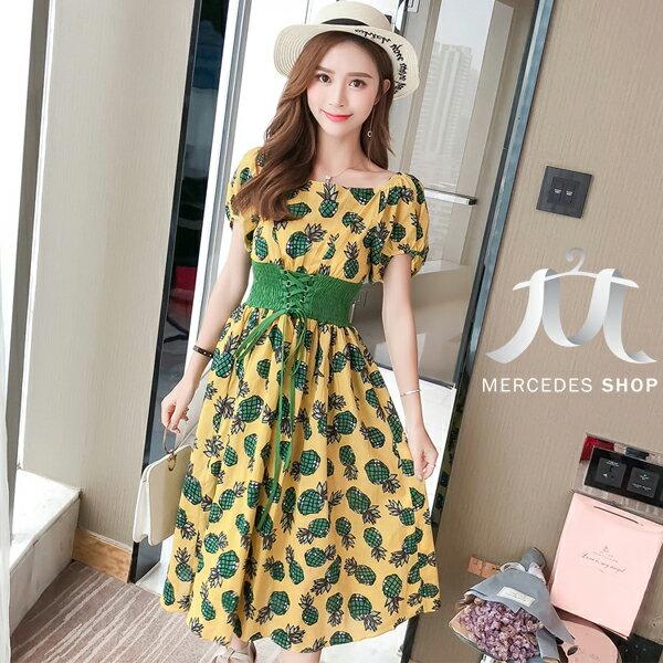 《全店75折》韓國度假風菠蘿花鬆緊腰連身裙短袖洋裝(S-XL,2色)-梅西蒂絲(現貨+預購)