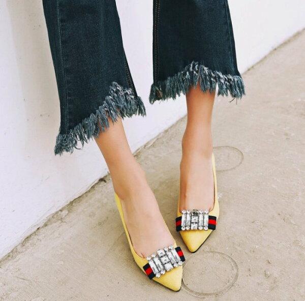 Pyf♥個性百搭尖頭細跟高跟鞋寶石緞帶絨面單鞋OL上班鞋43大尺碼女鞋