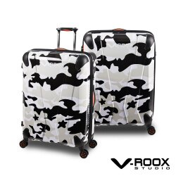 V-ROOX AXIS 26吋 原創設計可擴充行李箱 硬殼防爆雙層拉鏈旅行箱-黑白迷彩