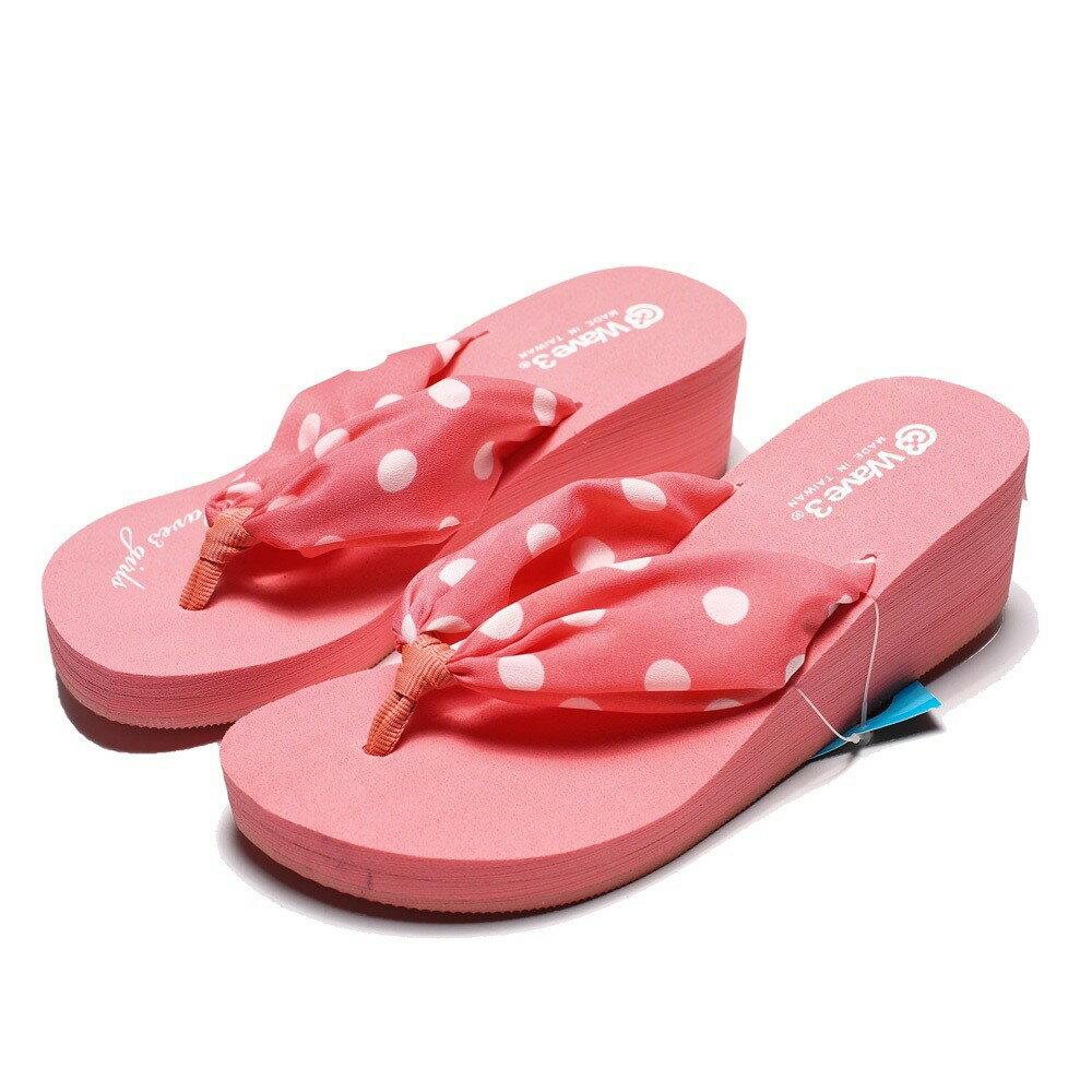 WAVE3 粉點點 增高 夾腳拖 人字拖 海灘 拖鞋 女生 (布魯克林) G13205805