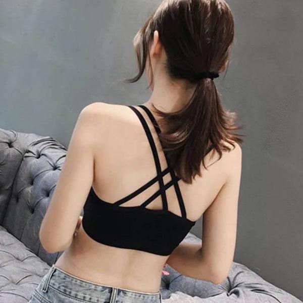 超好穿雙肩帶交叉小可愛短版背心胸墊可拆彈性比基尼爆乳性感細肩帶防走光運動內衣百搭黑白ANNAS.