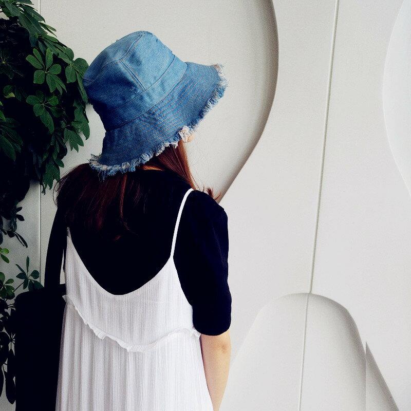 破舊水洗牛仔盆帽軟薄夏遮陽漁夫帽毛邊情侶款休閒帽
