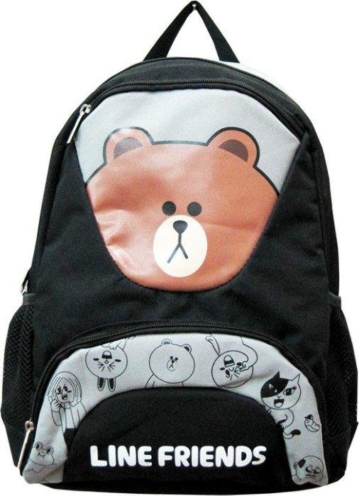 ~禾宜 ~  Line Friends 熊大 黑銀色 後背包 書包 LI~5173~A ^