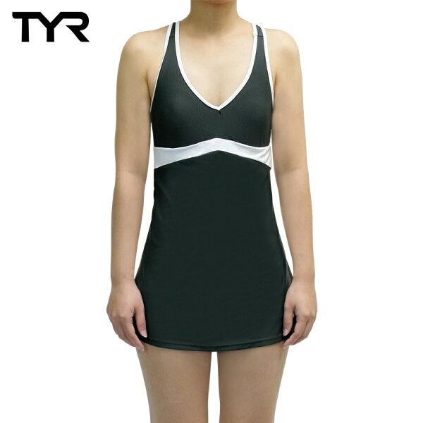 Barracuda1976:美國TYR女用修身連身裙泳裝CelsiaSwimDressGray台灣總代理