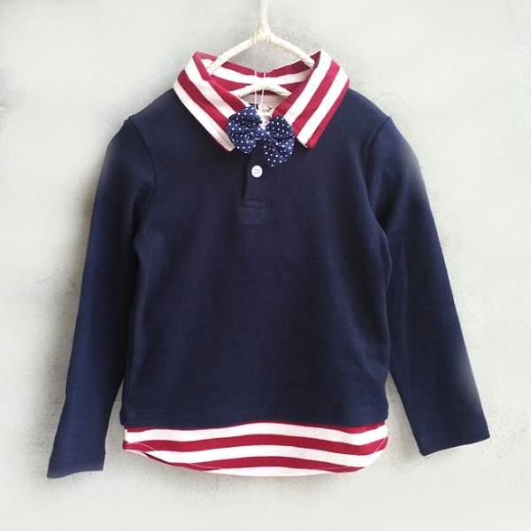 【班比納精品童裝】彈力Q棉假兩件點點領結橫紋襯衫T恤上衣-藍【BO150714028】