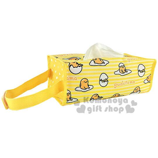 〔小禮堂〕蛋黃哥 帆布吊掛面紙套《黃.多姿勢.條紋.滿版》室內汽車兼用