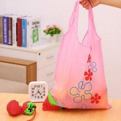 [Hare.D] 草莓摺疊收納環保購物袋 草莓袋 草莓環保袋 草莓折疊袋 草莓購物袋 折疊收納袋 草莓手提袋 草莓束口袋