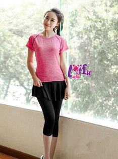 來福運動褲,B378運動褲七分褲娜格假二件式運動褲子正品,M-XL單褲售價499元