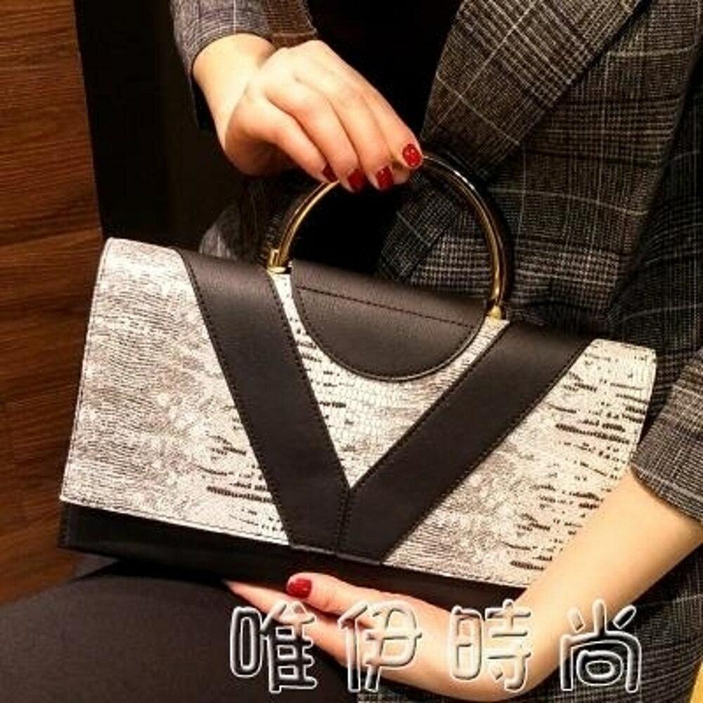 手提包 女包新款女士手提包韓版時尚手拿包簡約雙層大容量手包斜跨包 唯伊時尚