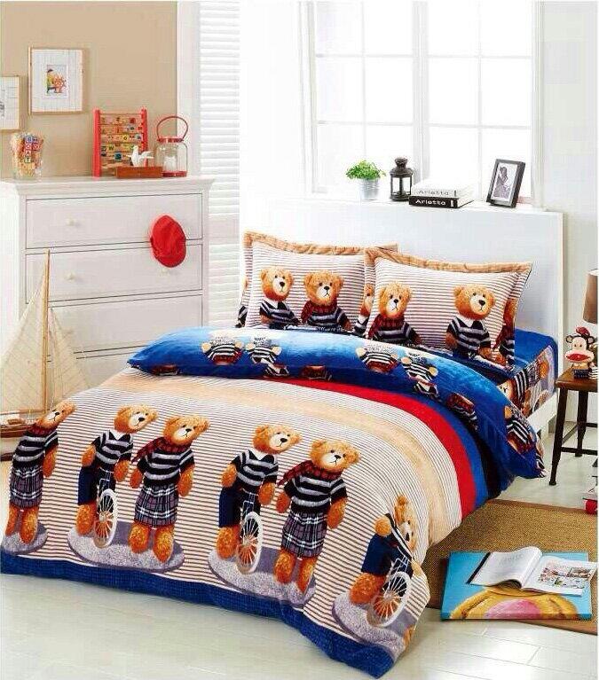 *華閣床墊寢具*法蘭羊羔絨多功能被套-小熊樂園 雙人180*210CM 法蘭絨+羊羔絨 贈收納袋