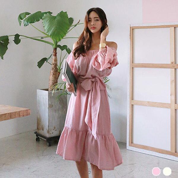 PS Mall 蛋糕袖收腰 連身裙 長裙 連身洋裝【T1767】 - 限時優惠好康折扣