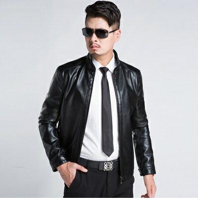 皮衣夾克外套-春秋純色立領修身男夾克3色73pn28【獨家進口】【米蘭精品】 0