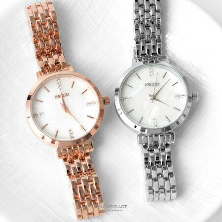 手錶 閃耀水鑽刻度波浪鐵帶腕錶 質感貝殼鏡面設計 氣質女孩款 柒彩年代【NE1892】單支售價 - 限時優惠好康折扣