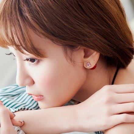 皇冠玫瑰花色珍珠耳環【櫻桃飾品】【10604】
