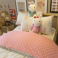 居家生活寢具推薦床包 被套 兩用被 加大床包組/Kingsiz床包組 台灣製造 棉床本舖 [ Deer and Beer 粉色星星 ] 好窩生活節。就在棉床本舖Annahome居家生活寢具推薦