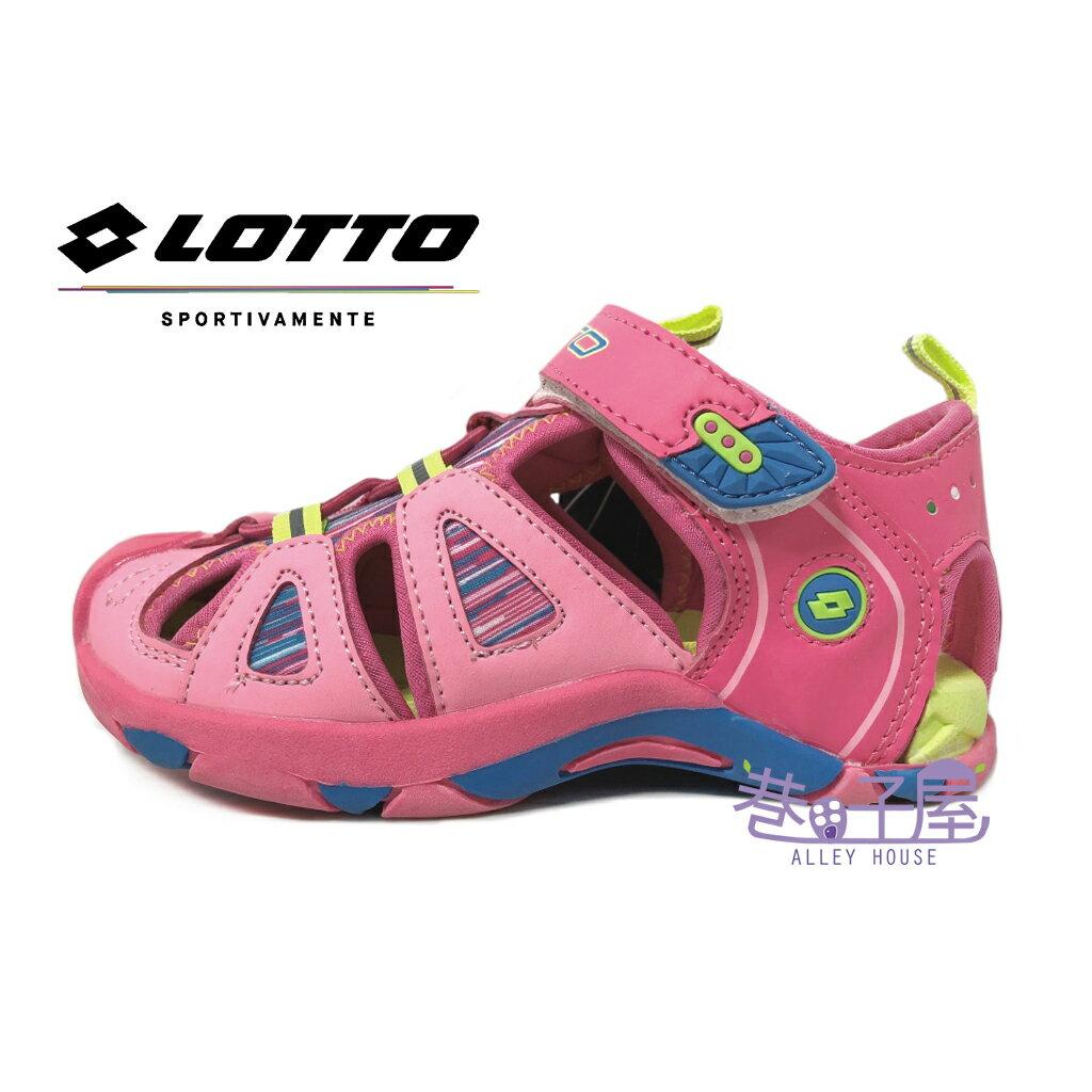 【巷子屋】義大利第一品牌-LOTTO樂得 女童條紋五大機能排水護趾運動涼鞋 [3193] 粉 超值價$398
