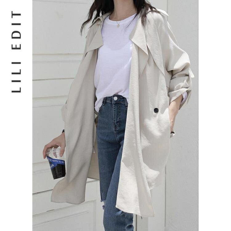 風衣外套 LILI EDIT/薄款收腰風衣外套女秋季2020新款寬鬆韓版小個子中長款SUPER SALE樂天雙12購物節