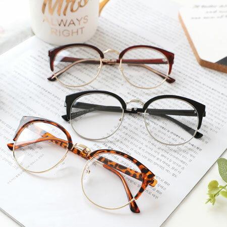 時尚半框貓眼金屬邊眼鏡眼鏡圓框大框半框眼鏡平光眼鏡造型眼鏡復古文青【N102843】