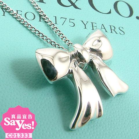 【奢華時尚】TIFFANY 禮物緞帶蝴蝶結925純銀項鍊(九成新) #13171