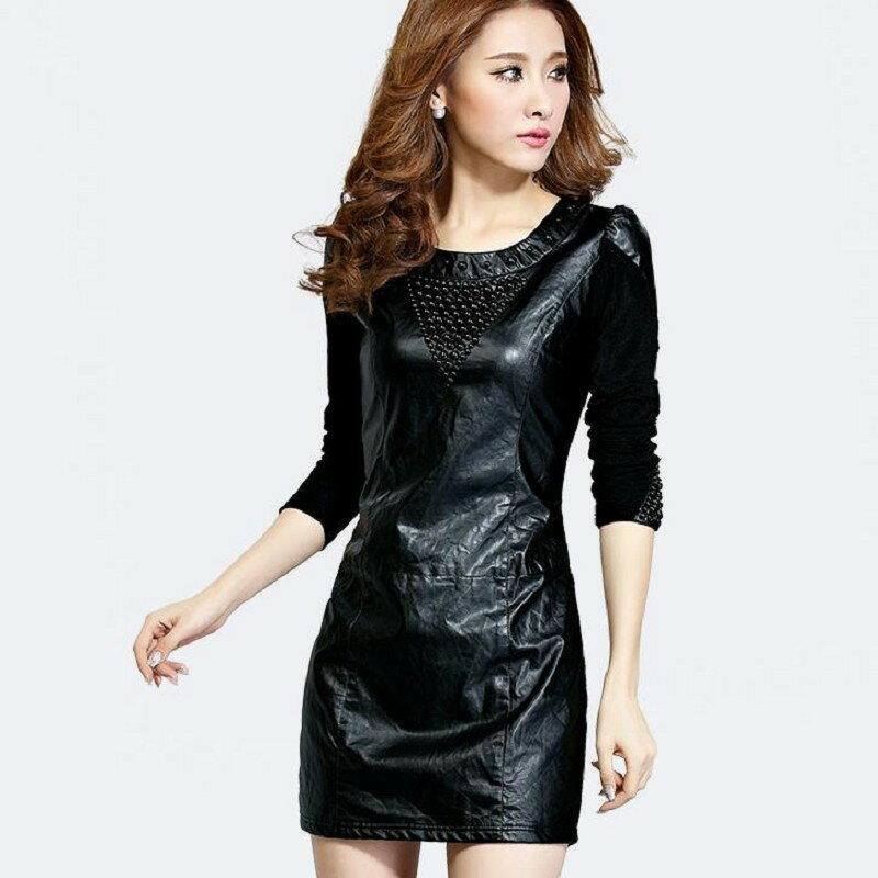 暖冬時尚PU修身顯瘦連身洋裝加絨~不加絨 S~2XL 現貨+預購 韓風衣舍