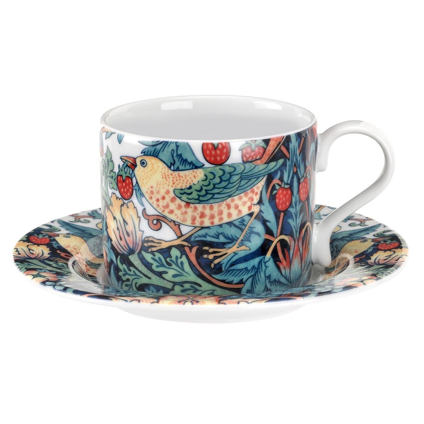 英國SPODE 威廉莫里斯William Morris聯名款-草莓鳥園280ml杯盤組(附原裝彩盒)