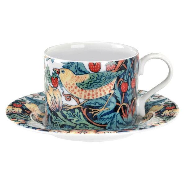 英國SPODE威廉莫里斯WilliamMorris聯名款-草莓鳥園280ml杯盤組(附原裝彩盒)