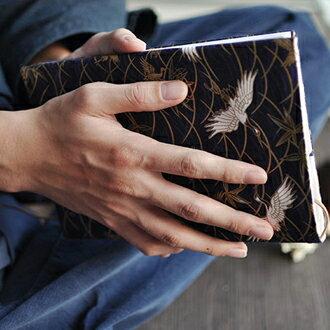 【槐雪】千歲鶴歸 - 和風手工燙金棉布藝書衣書套手賬皮A516 | 紺紫