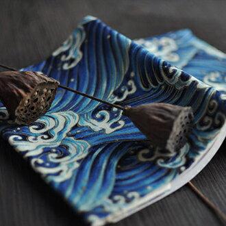 ~槐雪~神奈川海浪 ~ 和風 棉布藝書衣書套手賬皮 | 青海波