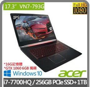 ~12期 0%~ACER VN7~793G~74JG 17.3 吋電競機 FHD  GTX
