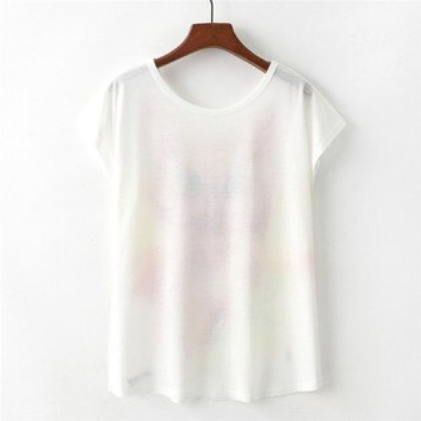 梅梅露*【55182003】水彩蝴蝶薄棉短袖T恤上衣