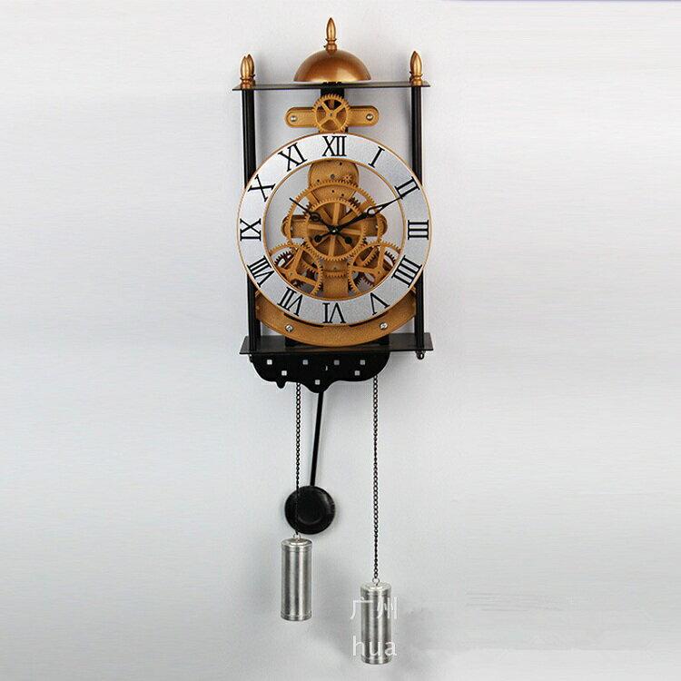 金屬 古羅馬數字齒輪模型鐘擺十天