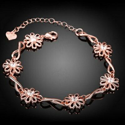 ~玫瑰金手鍊 純銀鑲鑽手環 ~ 花朵百搭母親節生日情人節 女飾品2色73bs3~ ~~米蘭