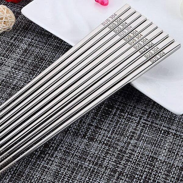 巴芙洛家居生活館:【巴芙洛】激光防滑304不銹鋼方形筷-6雙入