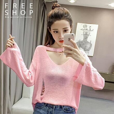 Free Shop:FreeShop女款韓系性感V領縷空造型抓破薄款寬鬆素面寬袖針織上衣針織罩衫【QMDM9007】