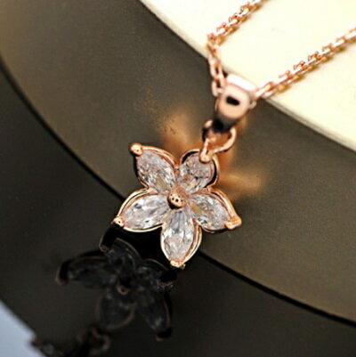 玫瑰金項鍊 水晶純銀吊墜 ~氣質小花 優雅生日情人節 女飾品73dw142~ ~~米蘭 ~