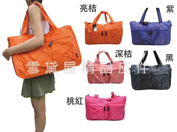 ~雪黛屋~X-TREME旅行袋購物袋中容亮點點可愛旅行袋防水尼龍布材質超好收納不占空間附活動型長背帶65-2139