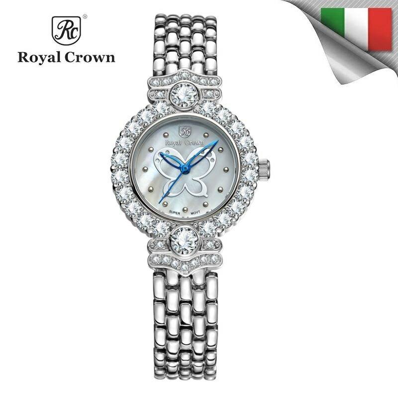 日本機芯 蝴蝶圖案 指針鏤空鑲鑽石英女錶 全鋼錶帶雙色可選 3844L免運費 義大利品牌精品手錶 蘿亞克朗 Royal Crown