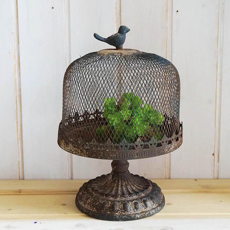 法式鄉村做舊鐵藝鳥籠花器 酒吧咖啡店裝飾擺件 園藝雜貨1入