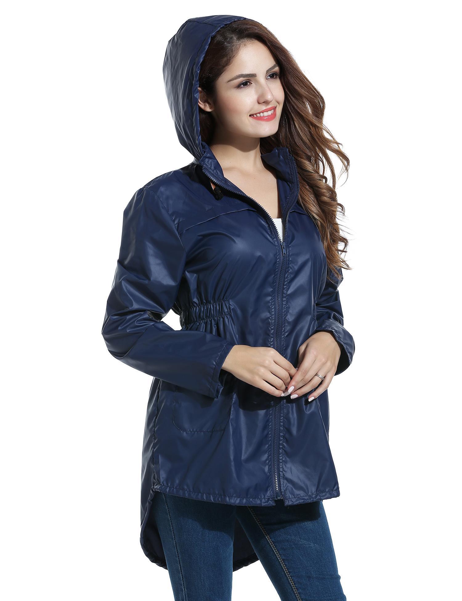 Women Dot Raincoat Fishtail Hooded Print Jacket 3