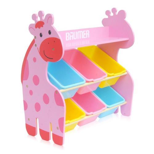 【寶盟BAUMER】親子鹿木質收納架(粉紅色)【樂寶家】免運費